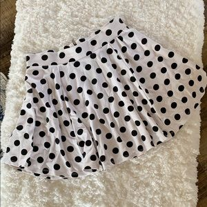 H&M• white and black polka dot skater skirt